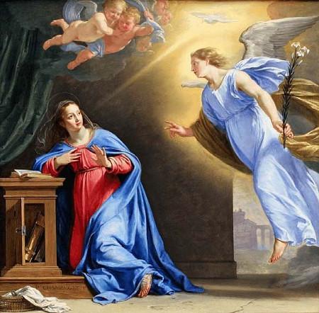 """""""Marian Ilmestys"""" (enkeli Gabrielin ilmestyminen Marialle) ranskalaisen taidemaalari Philippe de Champaigne'n vuonna 1644 maalaamana"""